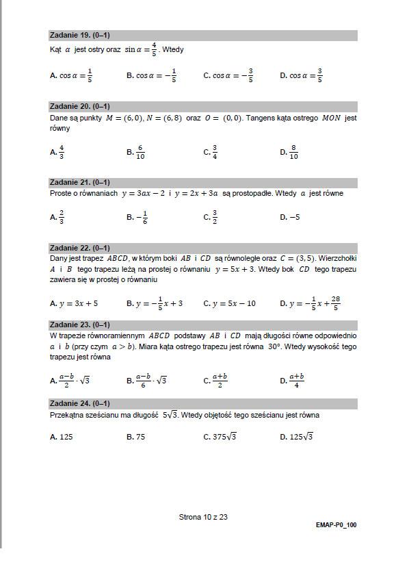 matematyka matura próbna arkusz 2021